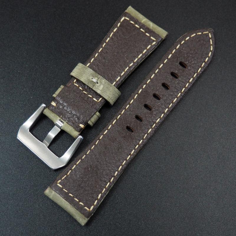 26mm Panerai 苔綠色高級牛皮錶帶