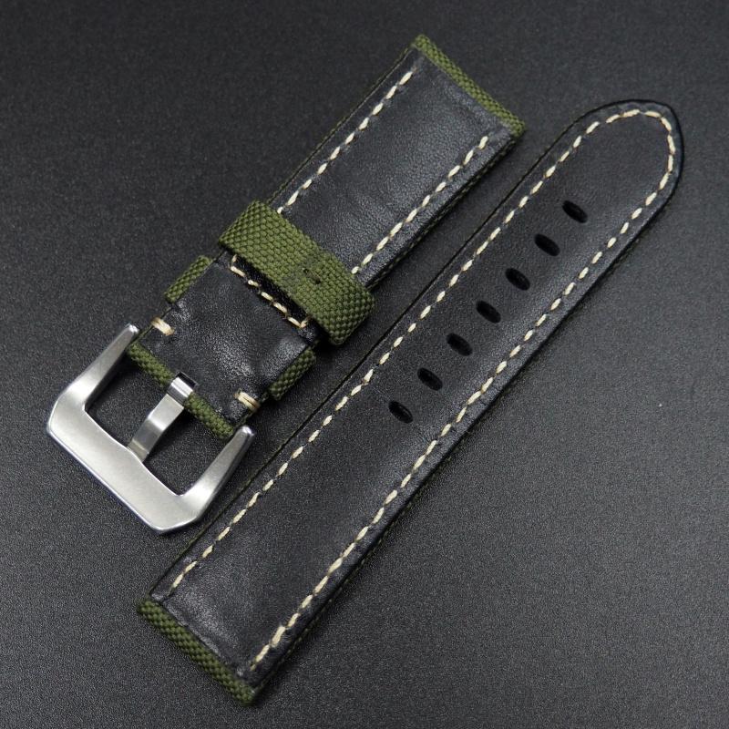 26mm Panerai 橄欖綠色尼龍錶帶配白車線