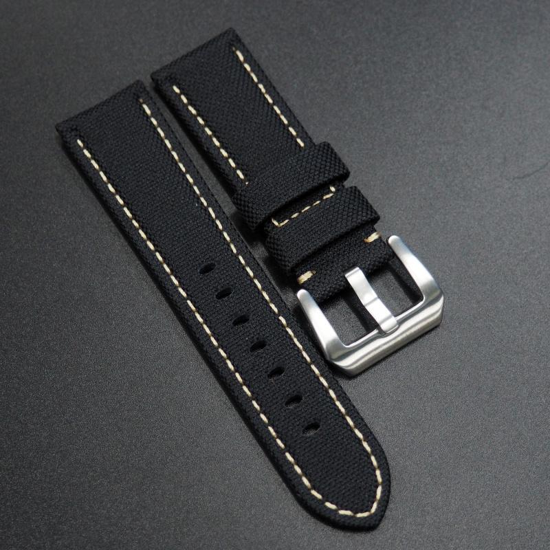 24/26mm Panerai 黑色尼龍錶帶配白車線
