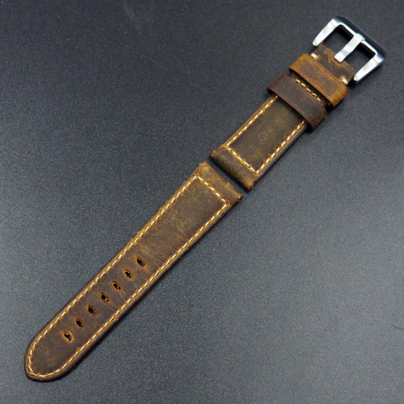24mm Panerai 橙色意大利牛皮錶帶