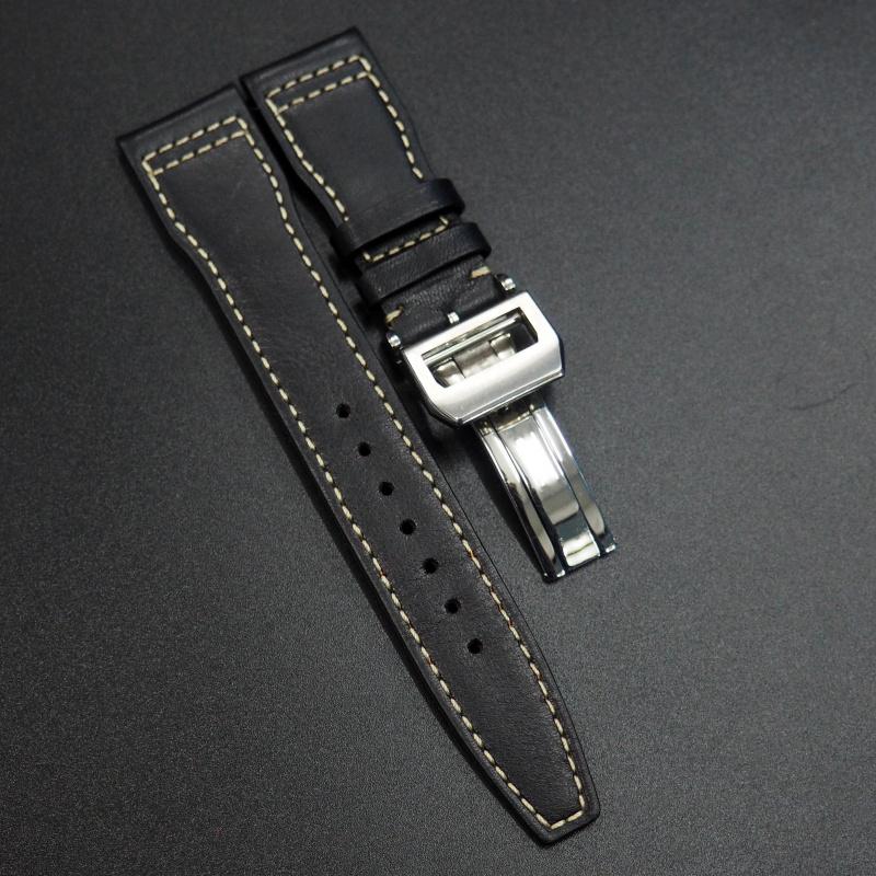 21mm IWC 飛行員黑色牛皮錶帶