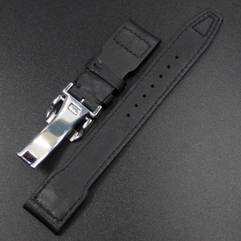 22mm IWC 飛行員黑色纖維錶帶