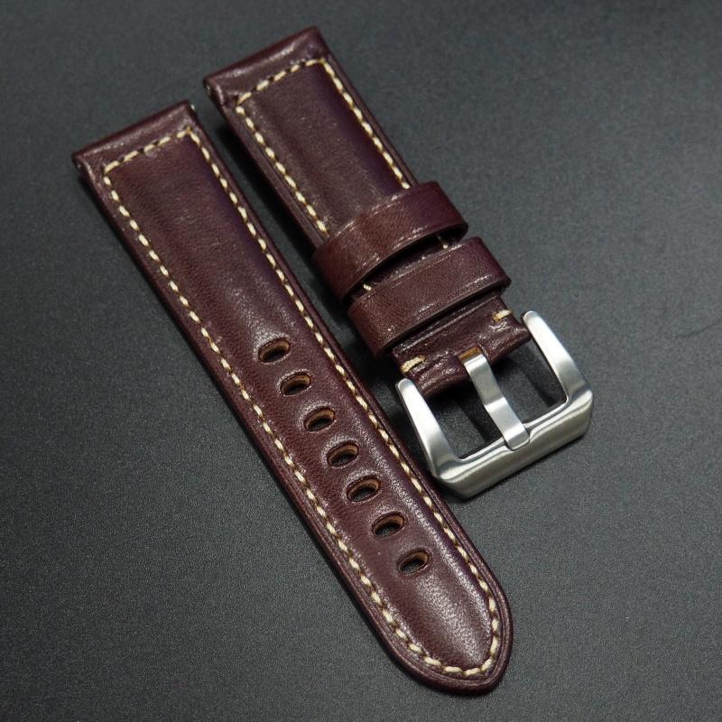 24mm Panerai 紅色高級牛皮錶帶