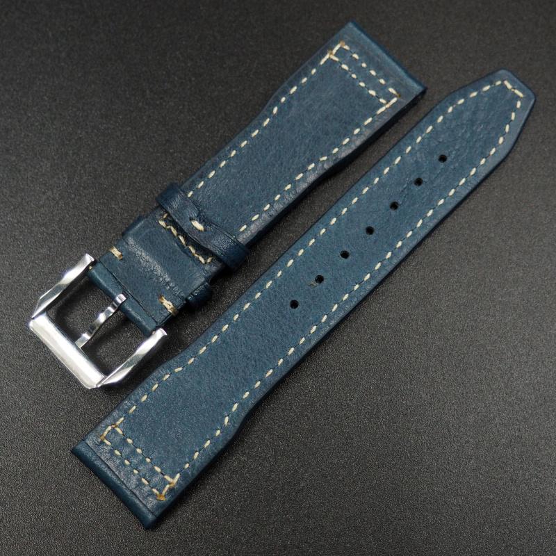 20mm IWC 藍色牛皮錶帶