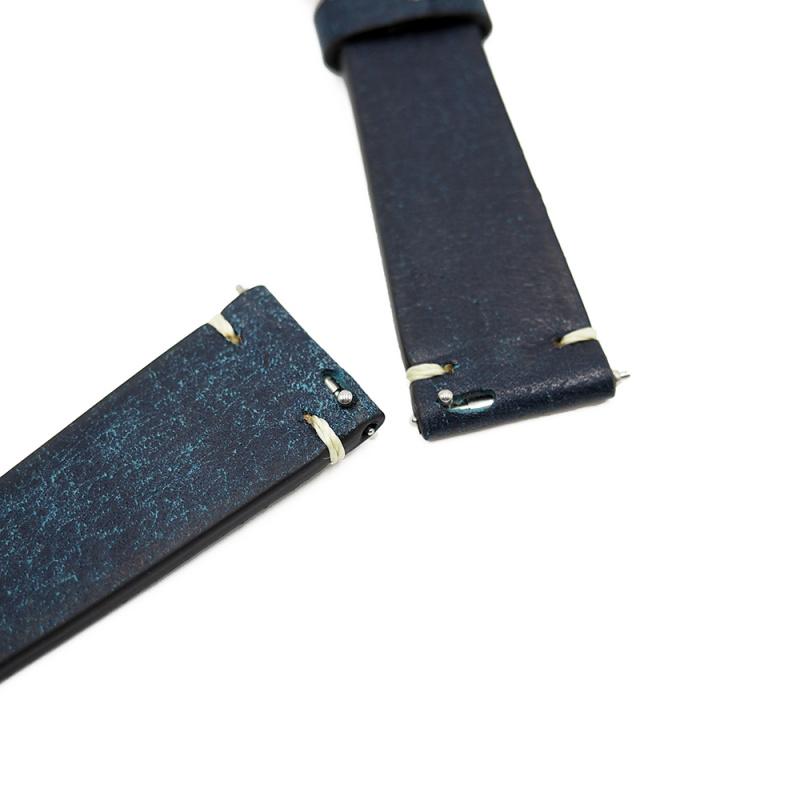 20mm 優質意大利橄欖綠色 Pueblo 牛皮復古錶帶, 快拆生耳