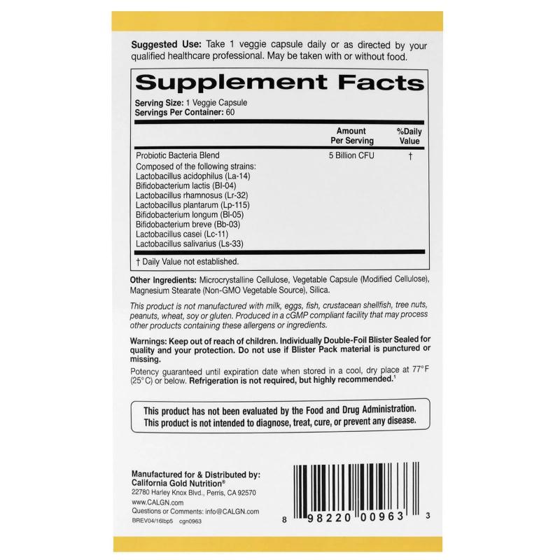 California Gold Nutrition LactoBif 50億益生菌CFU 60粒裝