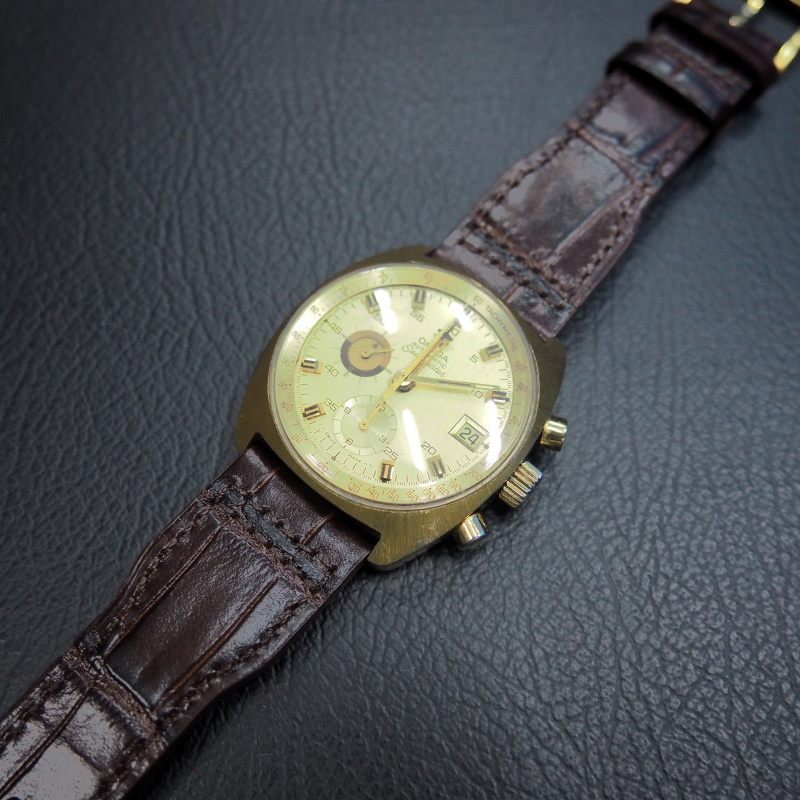20mm, 21mm, 22mm IWC 棕色鱷魚紋牛皮錶帶