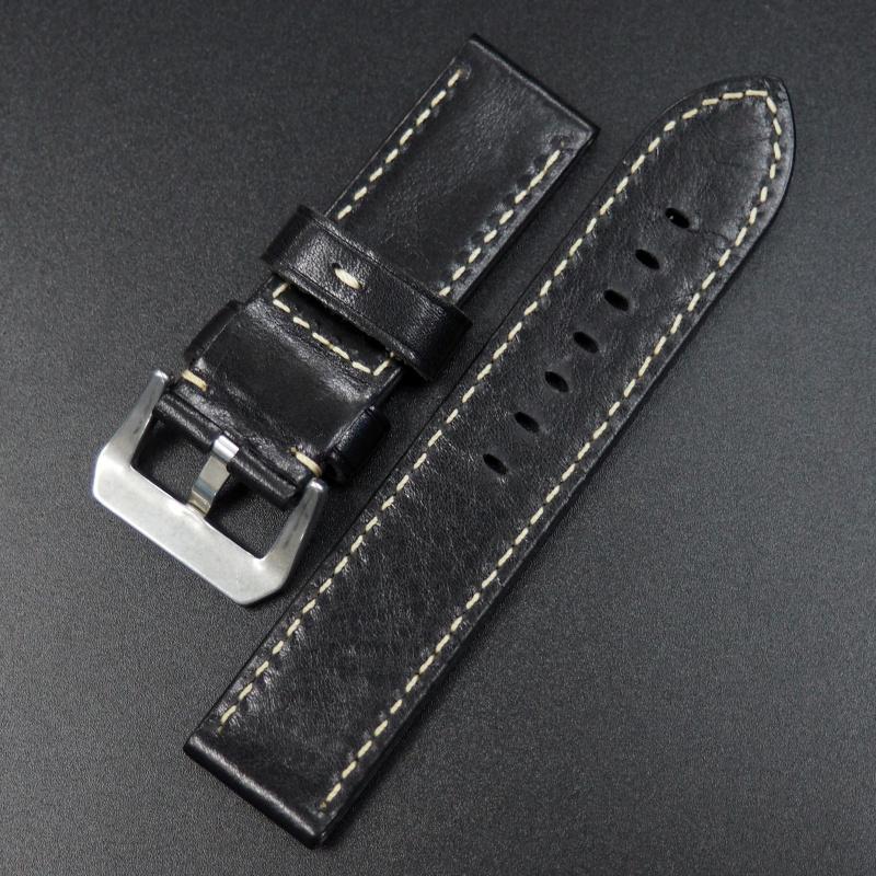 24mm Panerai 黑色優質牛皮錶帶