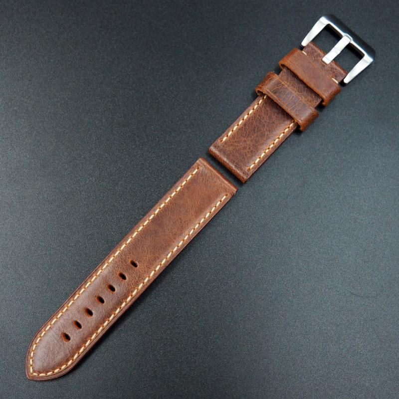 24mm Panerai 緋紅色優質牛皮錶帶