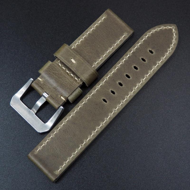 26mm Panerai 青苔綠色優質牛皮錶帶