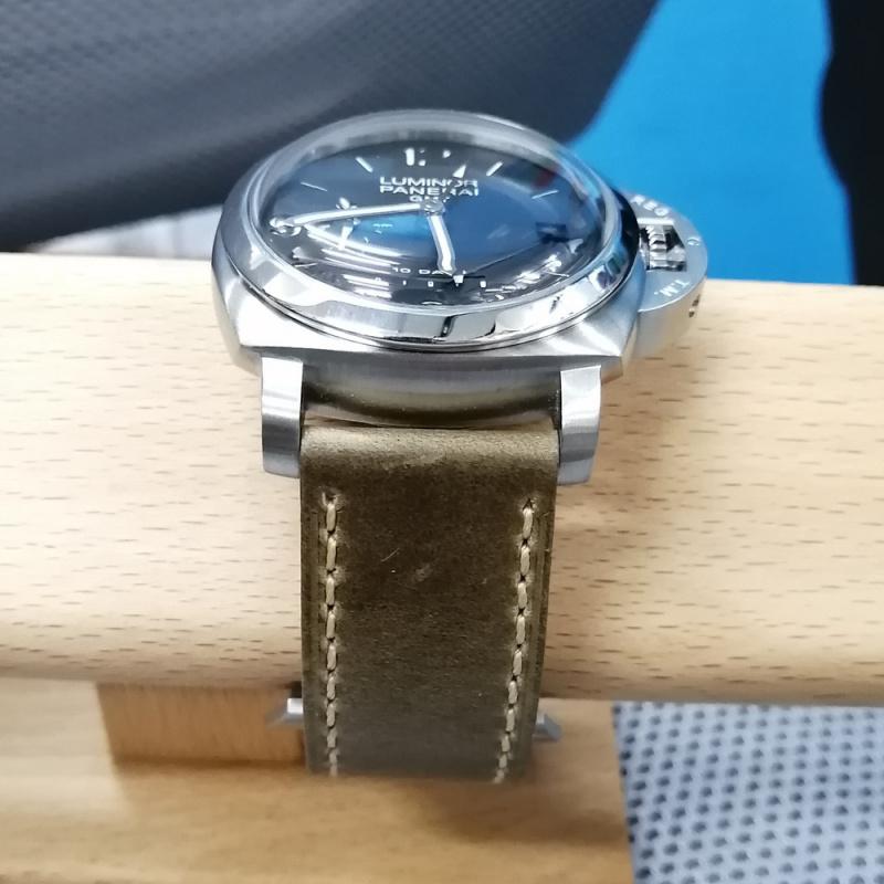 24mm Panerai 青苔綠色優質牛皮錶帶