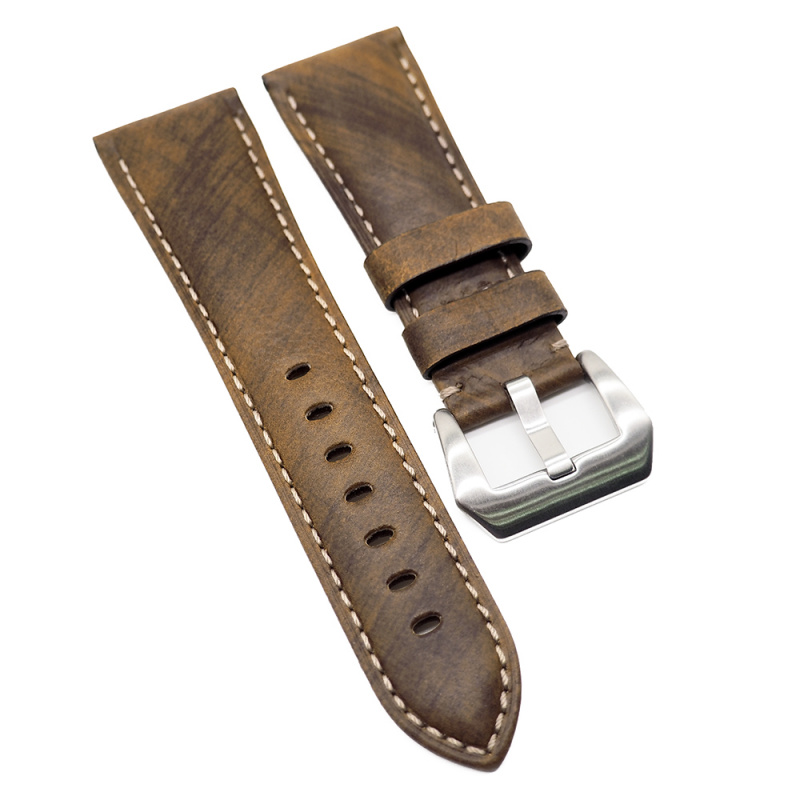 24mm, 26mm Panerai 青銅橙色意大利牛皮代用錶帶