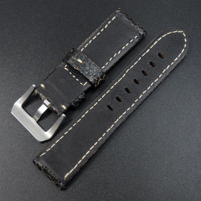 24mm Panerai 黑色交錯感牛皮錶帶