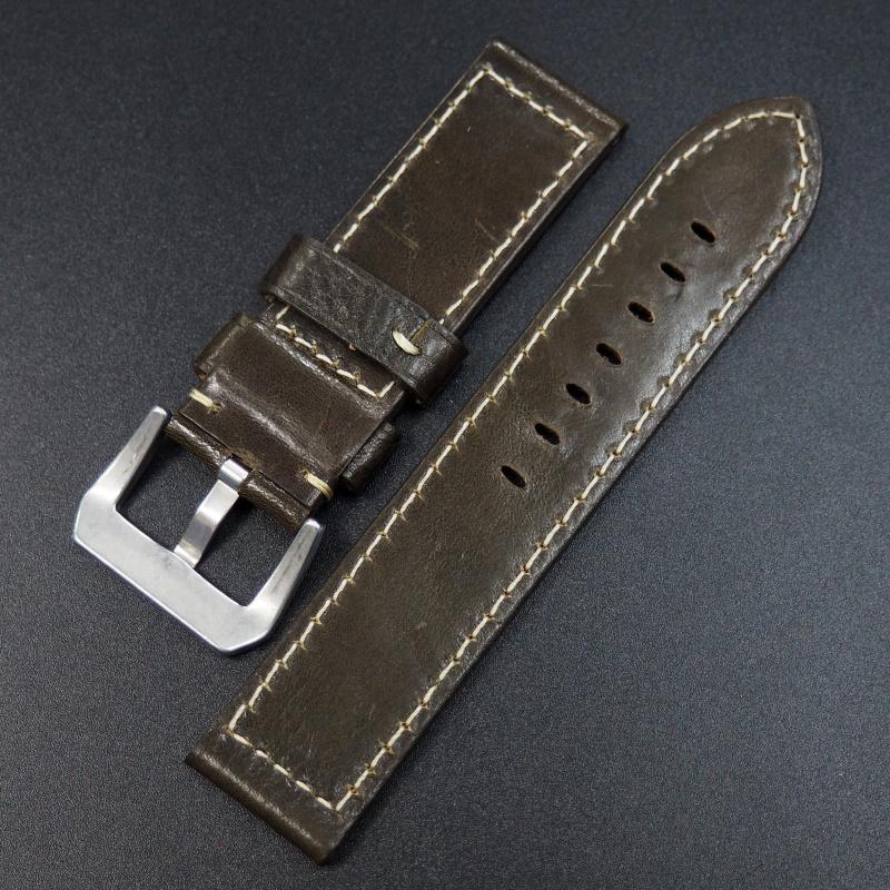 24mm Panerai 意大利軍綠色優質牛皮錶帶