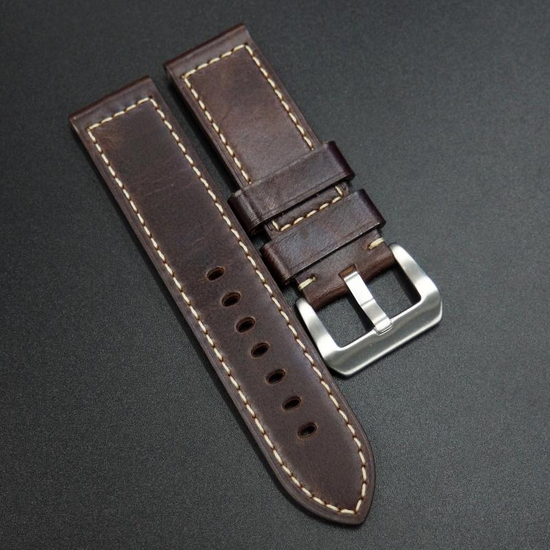 24mm Panerai 意大利酒紅色優質牛皮錶帶