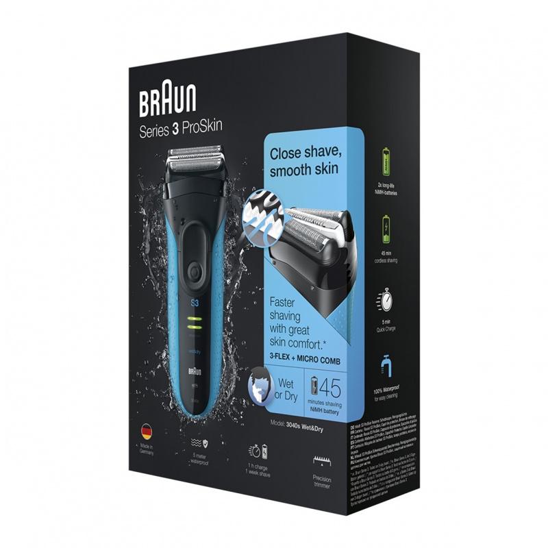 Braun Series 3 ProSkin 親膚系列 3040s 可充電乾濕兩用電鬚刨(藍色)
