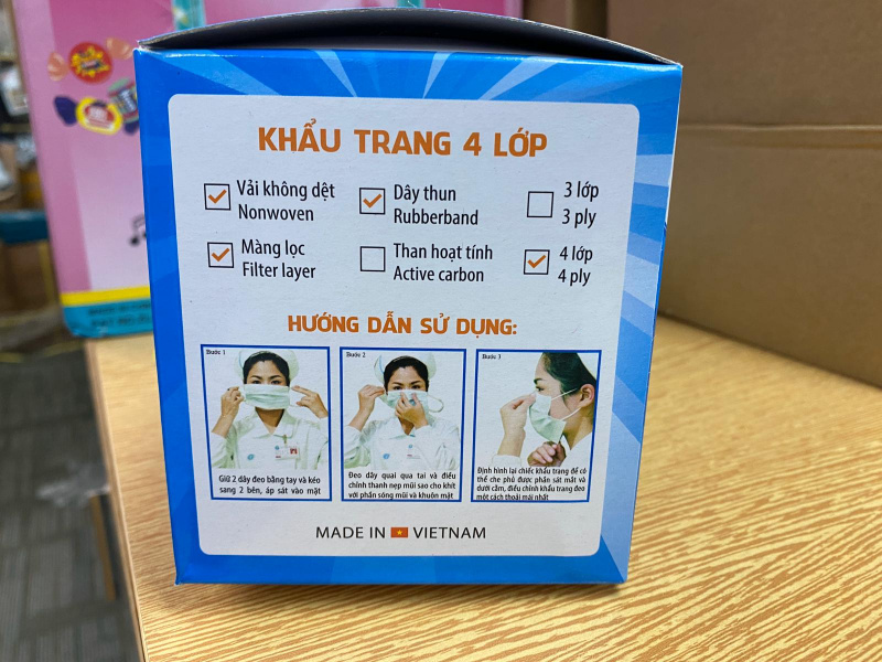 越南-越南口罩-SenuIet SUPER PROTECT 100% 抗菌 (4層)50pcs/盒 ISO 9001:2015