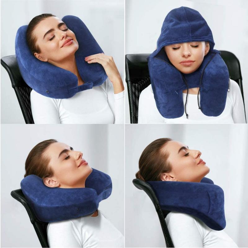 充氣旅行枕 舒適充氣帶帽枕頭 U型頸枕