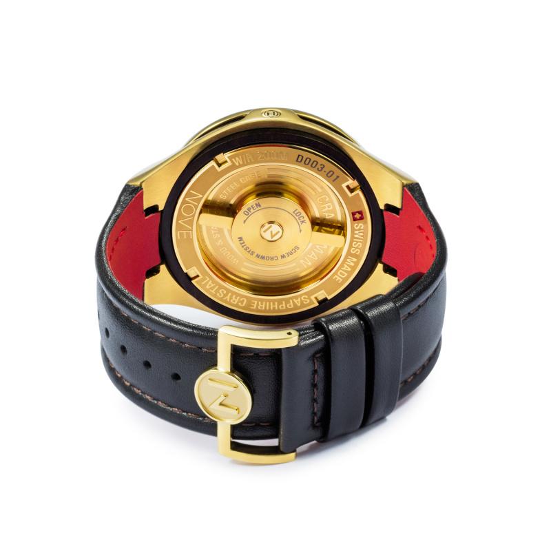 瑞士 NOVE Craftsman 系列 男士石英錶 金色 D003-01