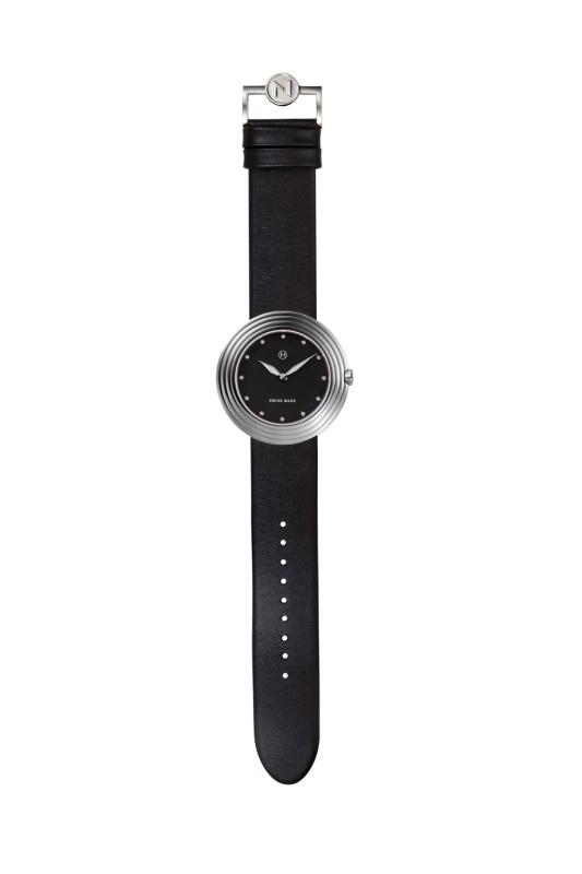 瑞士 NOVE Streamliner 系列 女士石英錶 (40mm 黑銀色 B001-01)
