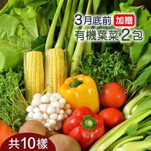 台灣新鮮採摘直送 _好農嚴選有機蔬菜箱(時令商品12包)
