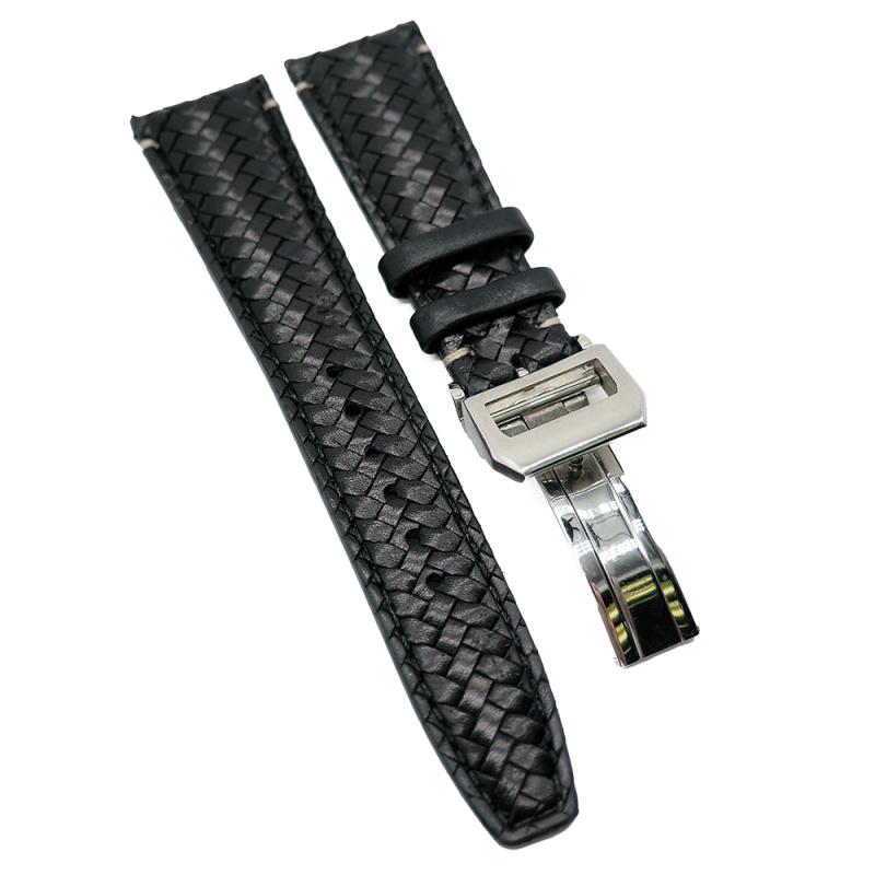 22mm IWC 黑色牛皮編纖代用錶帶
