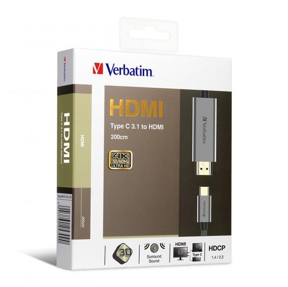 Verbatim Type C 3.1 to HDMI 4K傳輸線 200cm