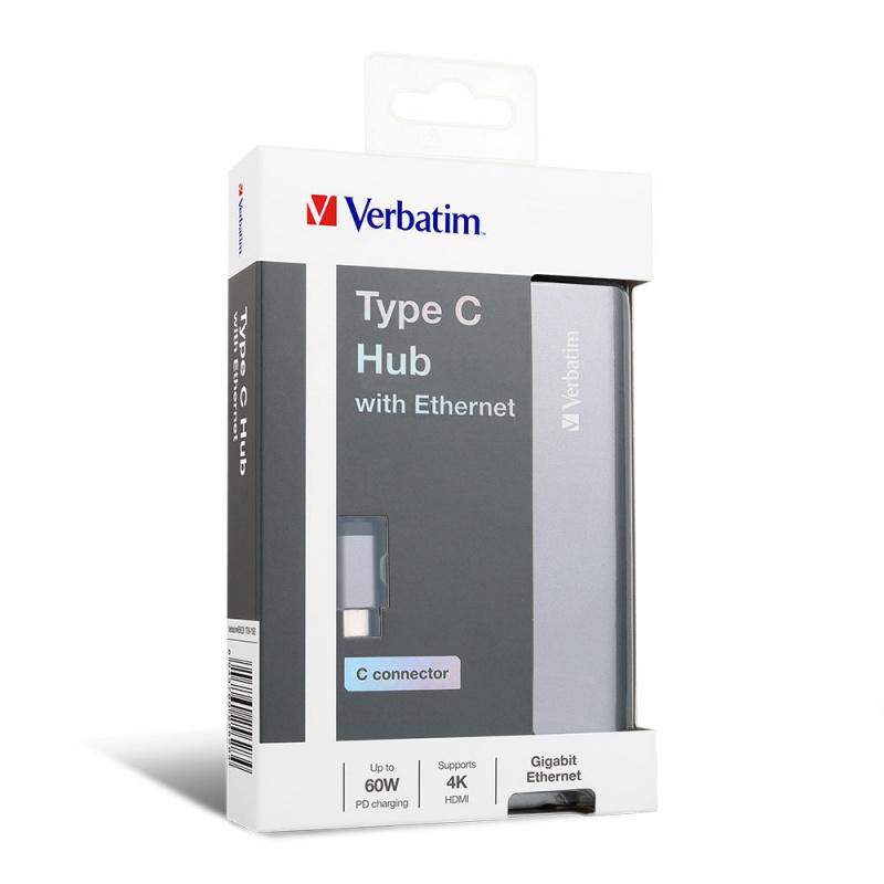 Verbatim Type-C Hub 擴展器連PD 60W, HDMI及網線