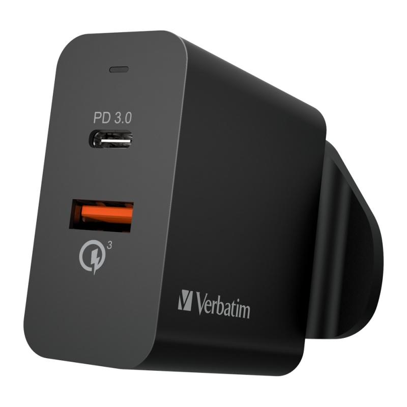 Verbatim Dual Port 36W PD & QC 3.0 USB充電器