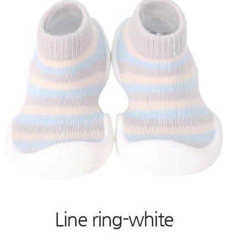 韓國-GGomoosin 嬰幼兒學行鞋 (Line Ring White)