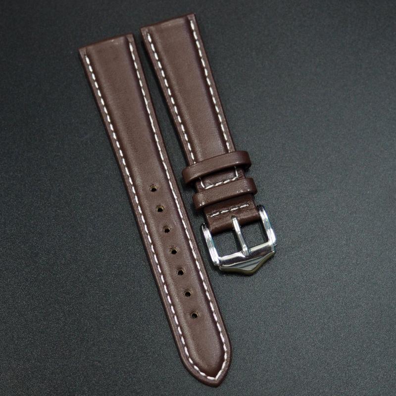 19mm 棕色牛皮錶帶配白車線