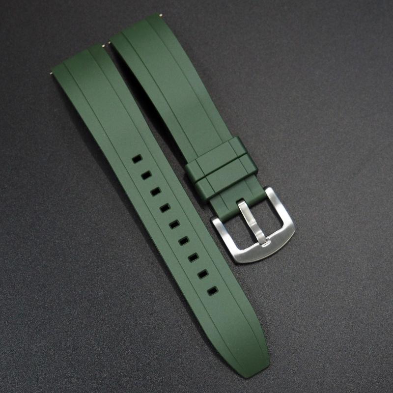 20mm, 22mm, 24mm 綠色橡膠快拆錶帶