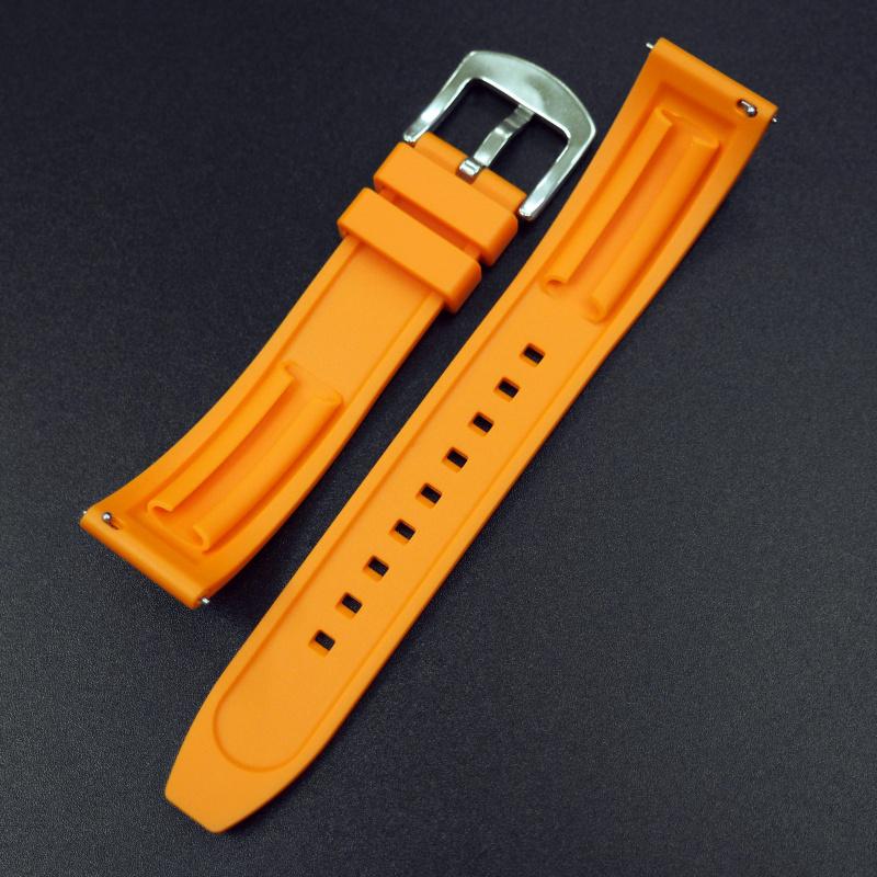 20mm 橙色橡膠錶帶 合適Rolex, Tudor, Omega, IWC, Seiko及Breitling等等