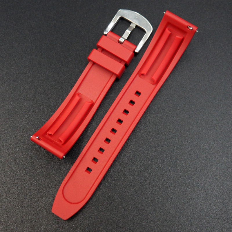 20mm 紅色橡膠錶帶 合適Rolex, Tudor, Omega, IWC, Seiko及Breitling等等