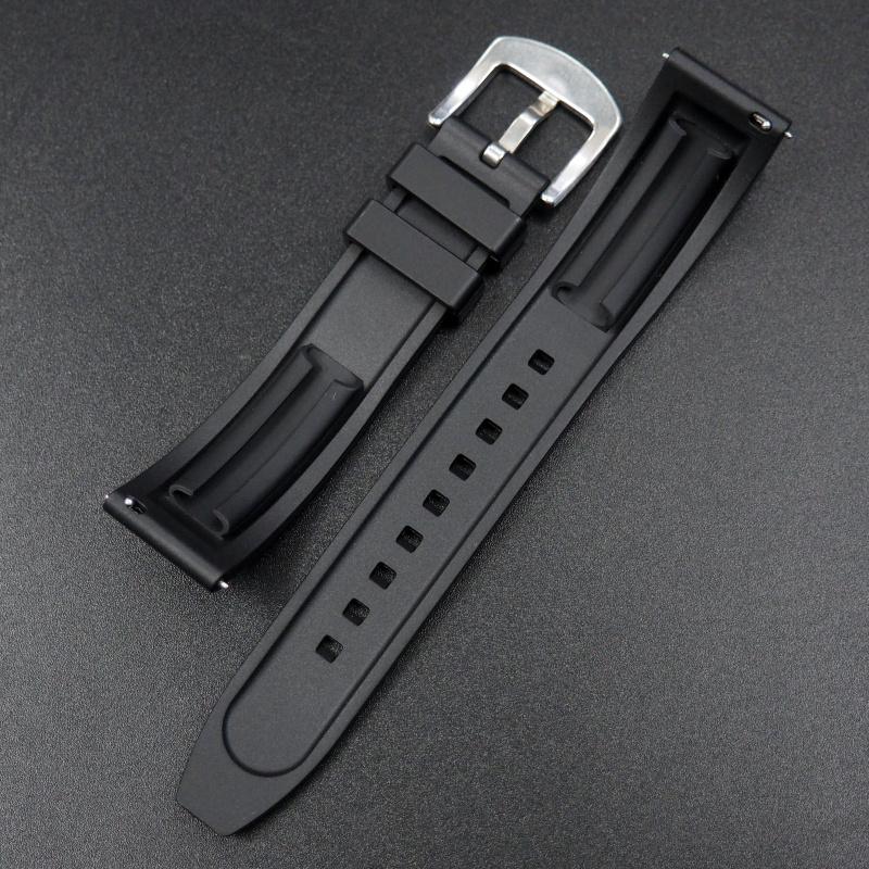 20mm, 22mm, 24mm 黑色橡膠快拆錶帶