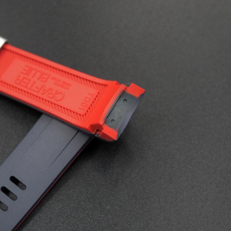 22mm 黑紅雙色優質硫化橡膠錶帶 合適Tudor Black Bay 41mm