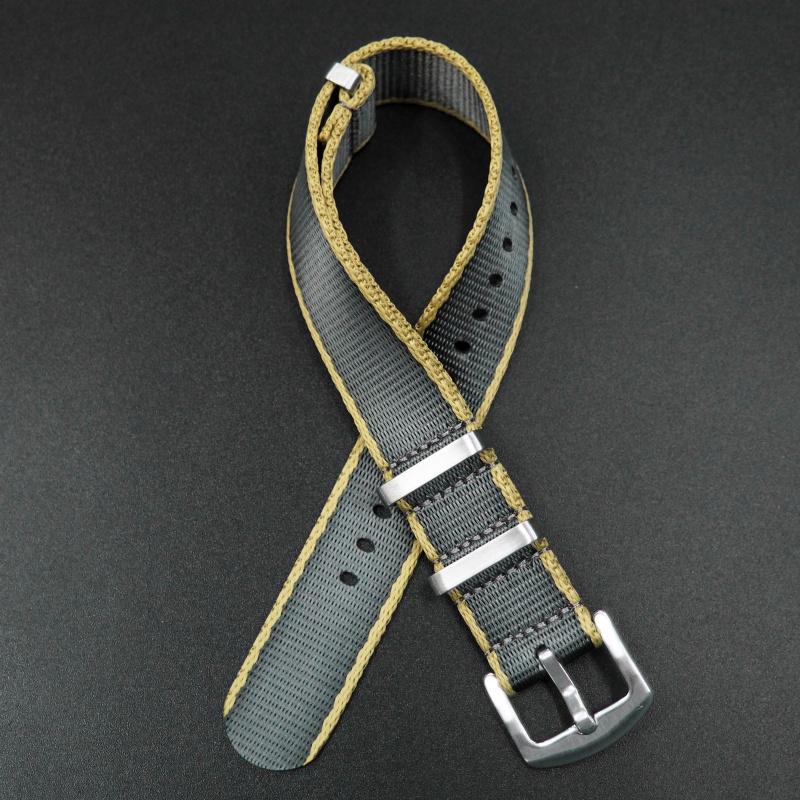 20mm Nato灰/黃色高質尼龍錶帶