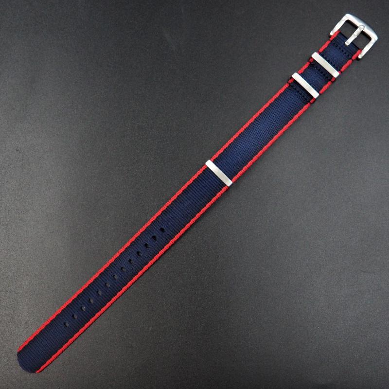20mm, 22mm Nato 紅/藍色高質尼龍錶帶