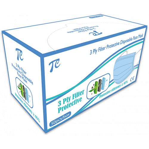 TC 3層一次性防護口罩 (藍色) [50個/盒]