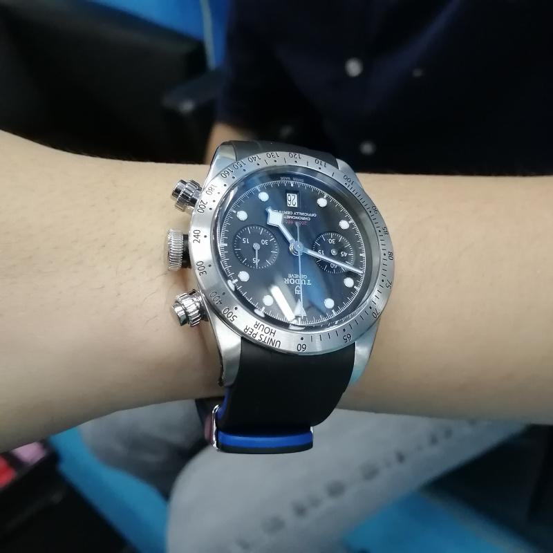 Crafter Blue 22mm 黑藍雙色優質硫化橡膠錶帶 適合 Tudor Black Bay 41mm Series