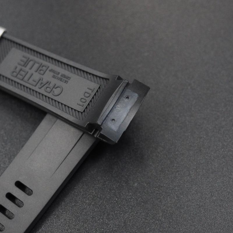 22mm 黑色優質硫化橡膠錶帶 適合Tudor Black Bay 41mm Series