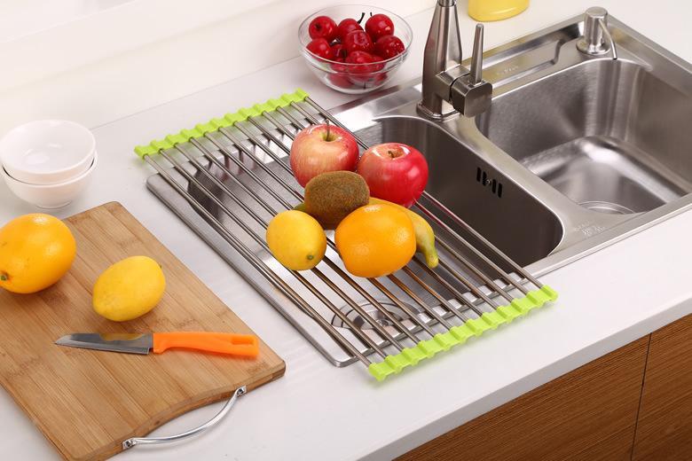 廚房折疊不銹鋼矽膠多用途瀝水架 YC-04PE