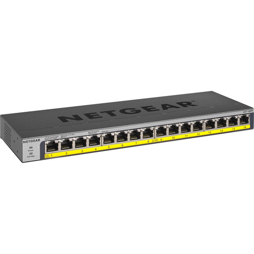 Netgear 16 Port Gigabit Ethernet Unmanaged Switch with 16-Port PoE/PoE+ GS116LP