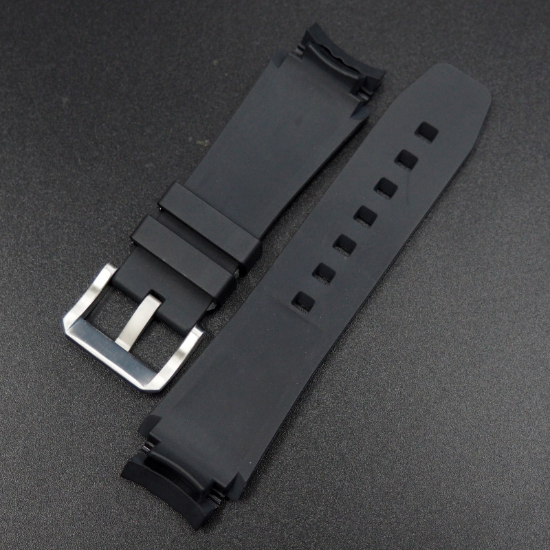 21mm 黑色彎頭橡膠錶帶 合適 Rolex Deepsea 116660