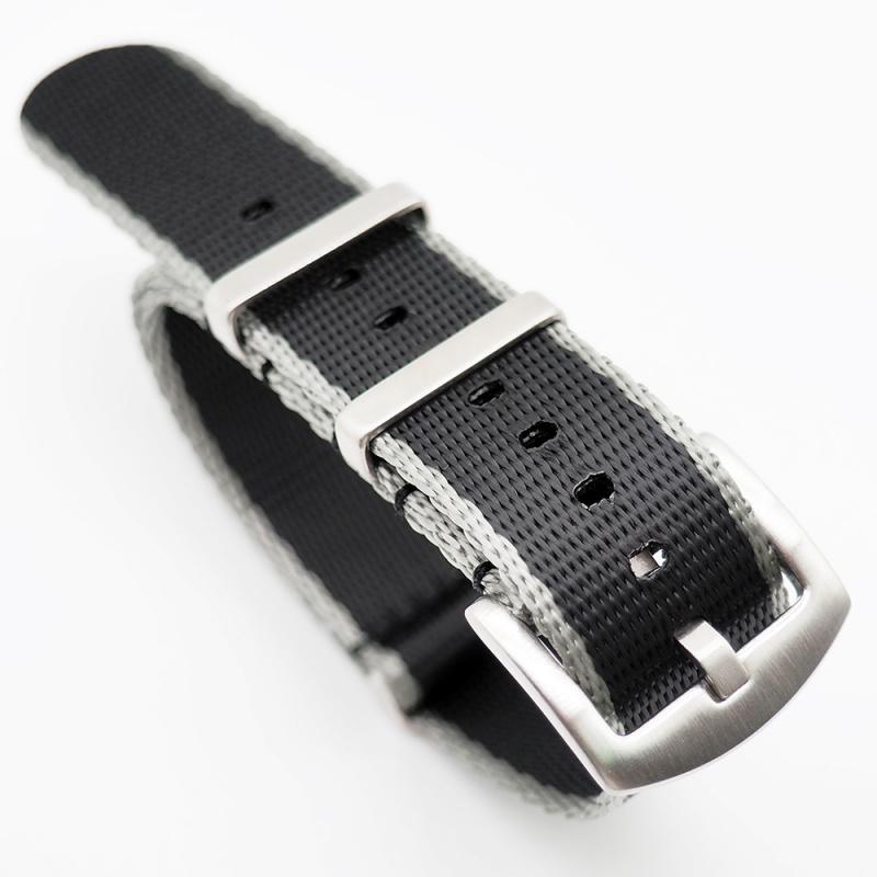 20mm, 22mm 黑色灰邊高質尼龍 Nato 錶帶