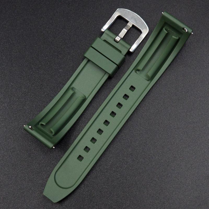 22mm 綠色橡膠錶帶 合適Rolex, Tudor, Omega, IWC, Seiko及Breitling等等