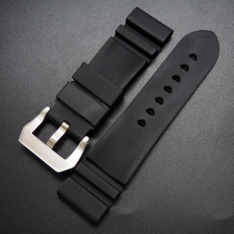 24mm Panerai Style 黑色代用膠錶帶