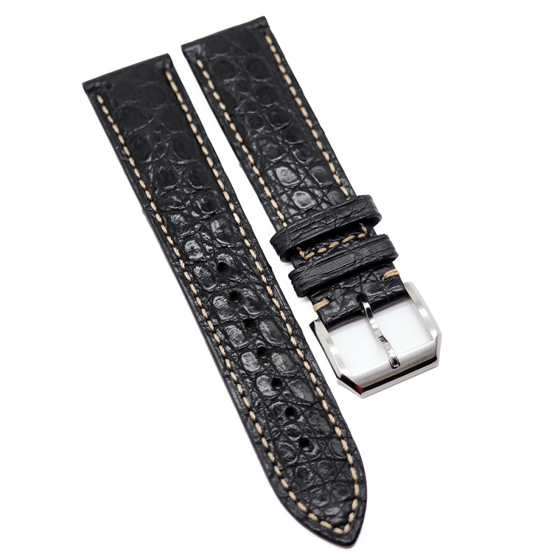 20mm 黑色 Longines 鱷魚皮代用錶帶