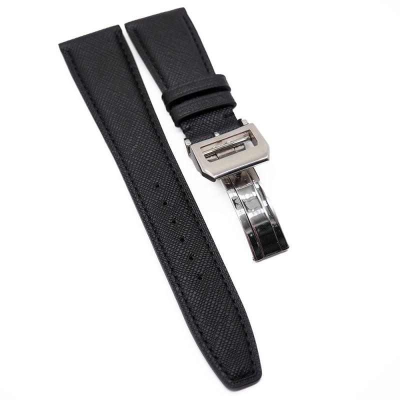 22mm IWC 黑色十字紋牛皮代用錶帶