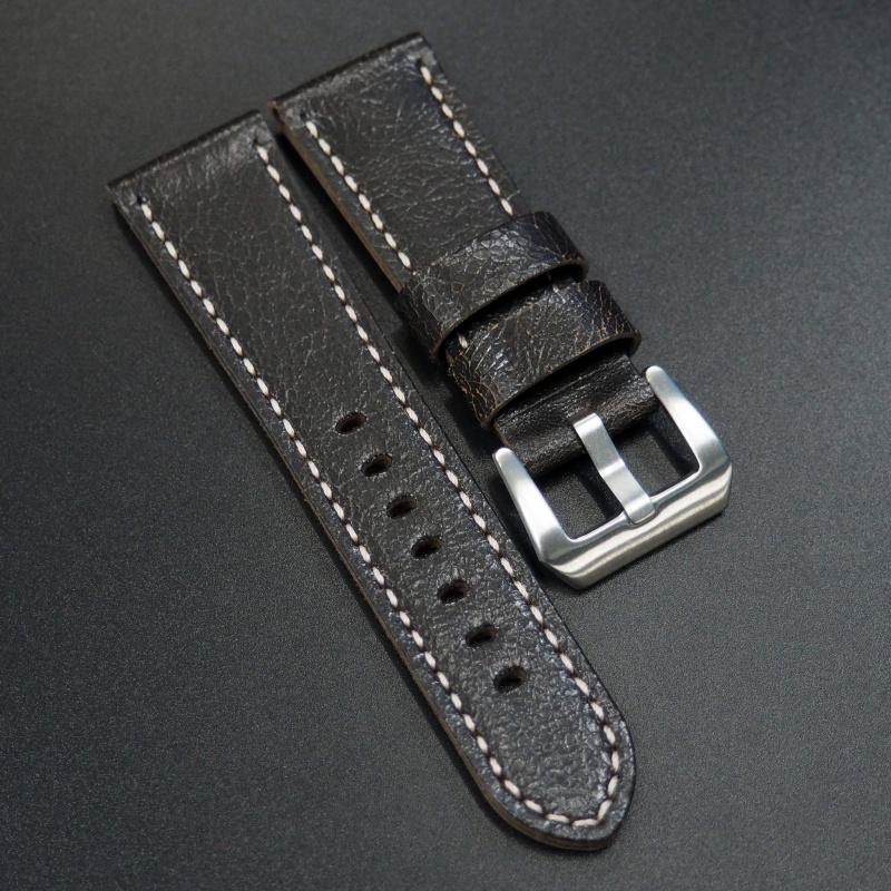 26mm 黑色交錯感牛皮錶帶 適合Panerai